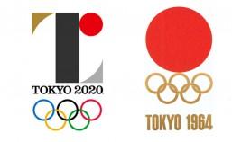 2020年東京オリンピックエンブレム(左)と1964年東京オリンピックのエンブレム(右)