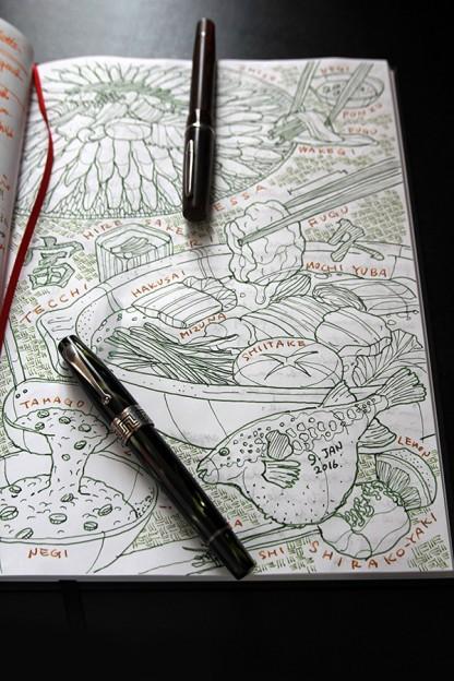 美味いものを食べたら後日ノートにこんなスケッチを万年筆で描いてます