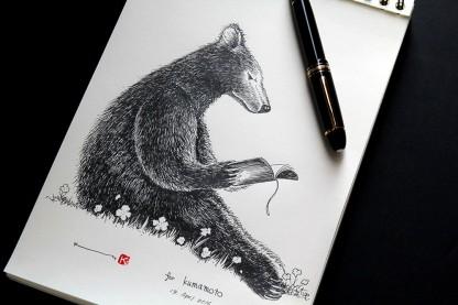 [熊」が「本」を読むシーンを思いつきすぐさま万年筆を手にしました
