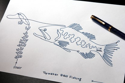 One stroke drawing with Pelikan Blue au blue Bnib fountain pen