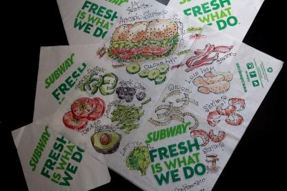 SUBWAYの紙ナプキンに万年筆と透明水彩絵具でスケッチ