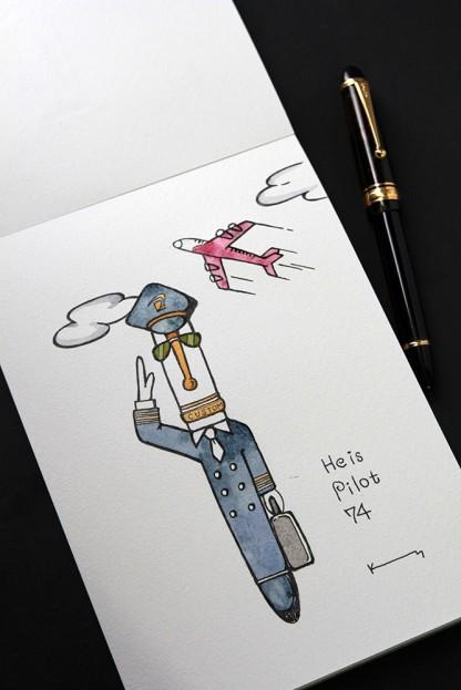 パイロット万年筆と透明水彩絵具で描く