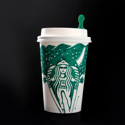 Drawing with fountain pen on Starbucks coffee cup